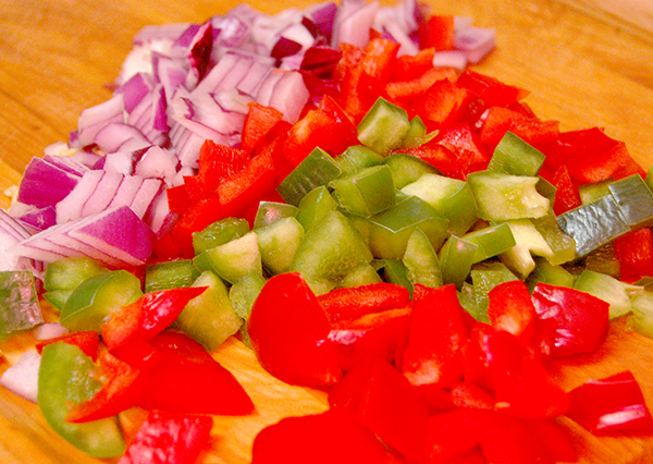 diced purple onion, red bell pepper, green bell pepper and 4 garlic cloves