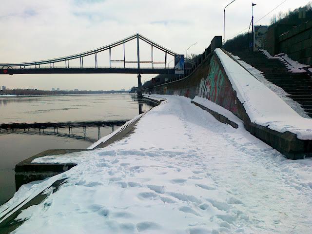 Набережная Днепра под снегом