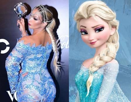 Valesca Popozuda e Elsa de frozen semelhanças no visual