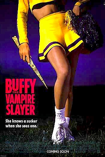 Poster of Buffy from the bust down standing awkwardly in cheerleading outfit with pom-pom in one hand and stake in the other