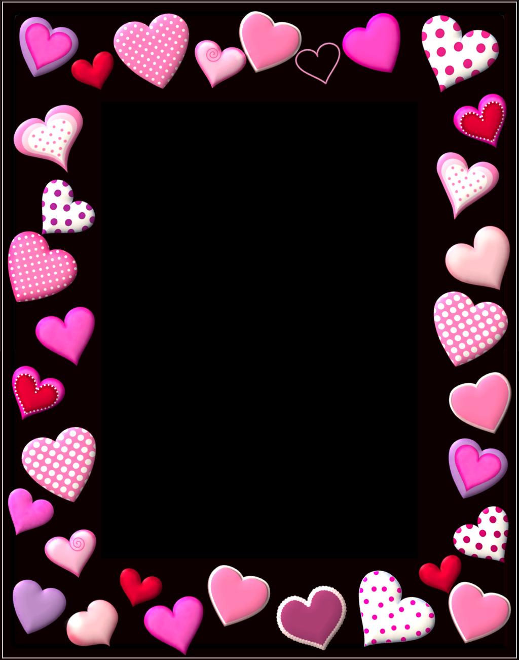 Marcos en rosado con corazones para imprimir gratis oh - Marcos de corazones para fotos ...