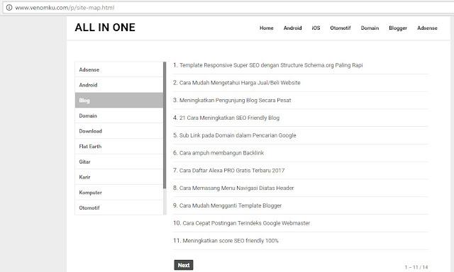 Cara Membuat Sitemap / Daftar Isi Blog Terbaru Work 100%