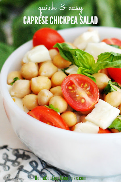 Easy Caprese Chick Pea Salad |  Home Cooking Memories on fg2b