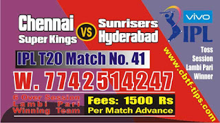 IPL 2019 41st Match Prediction Tips by Experts CSK vs SRH