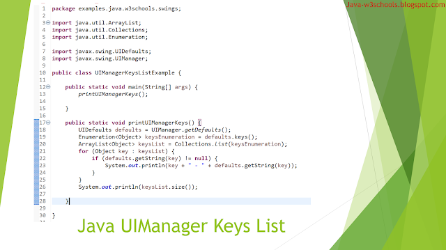 Java UIManager Keys List