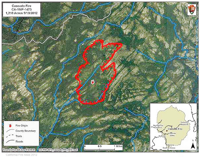 CA-YNP- Cascade Fire Location and Perimeter Map