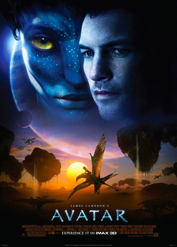 Human and Na'vi faces, both shaded blue, in the sky above Pandora landscape