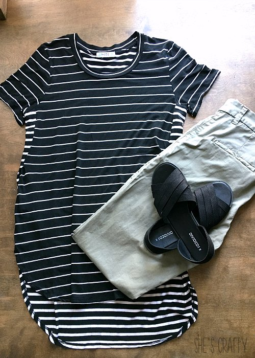 black and white striped shirt, olive pants
