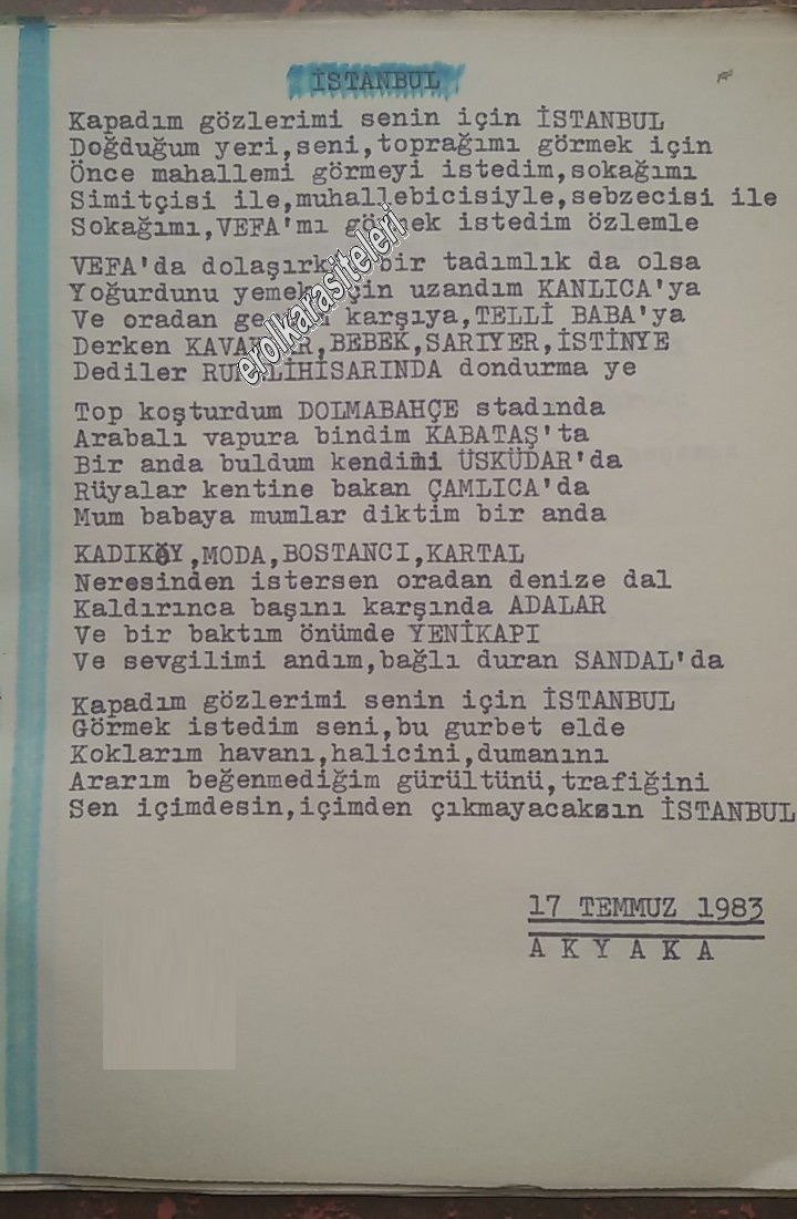 Nostaljik Asker Şiirleri - İstanbul