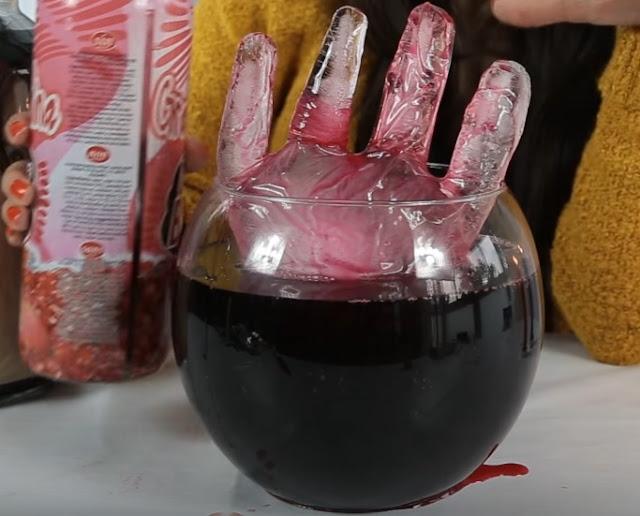 mano, hielo, sangrienta, granadina