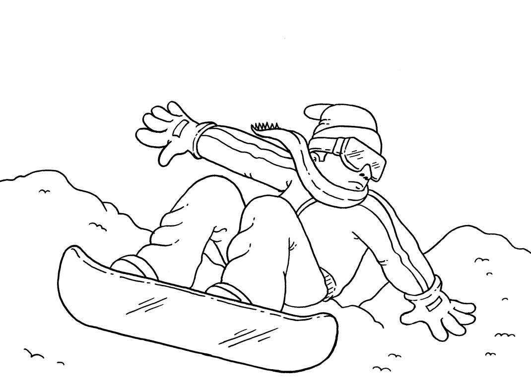 Sports Photograph Coloring Pages Kids Snowboarding