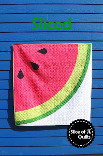 Sliced modern watermelon quilt pattern