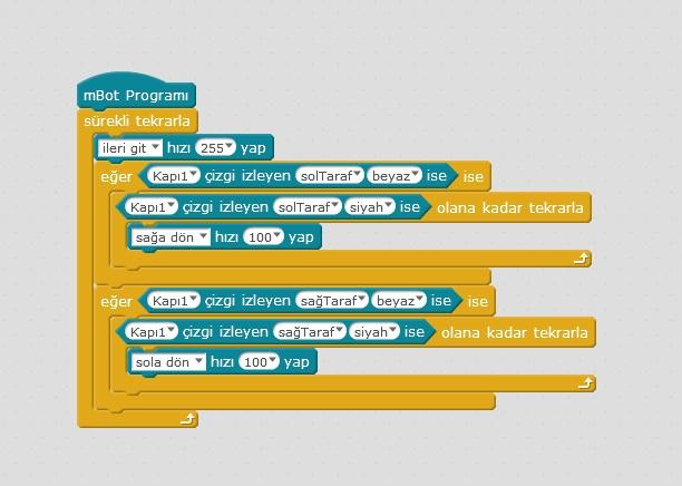 çizgi izleyen robot kodları