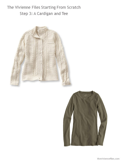 capsule wardrobe essentials - neutral cardigan and tee shirt