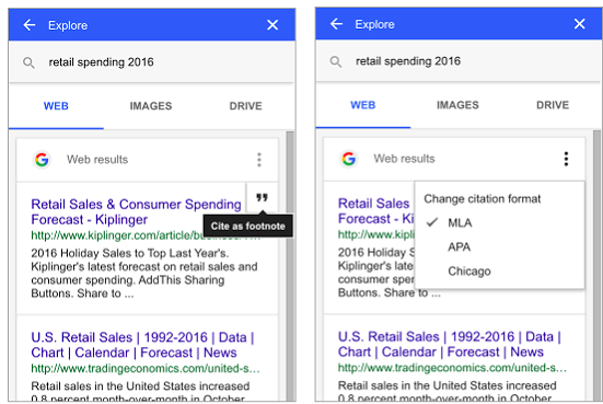 Google released a new citation feature in google docs to help you 3 to add a citation from the web hover over the search result and click cite as footnote cite as footnote to set the citation style as mla apa ccuart Gallery