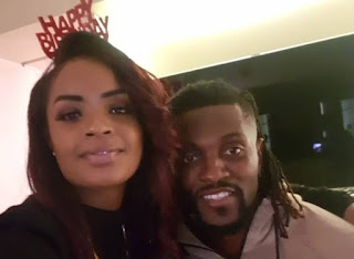Dillish Mathews and Emmanuel Adebayor celebrate one year together