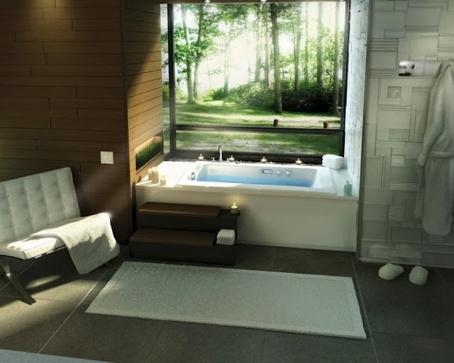 Large windows with outdoor scenery for a cozy bathroom.