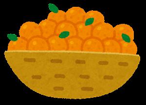 カゴに入った果物のイラスト(みかん)