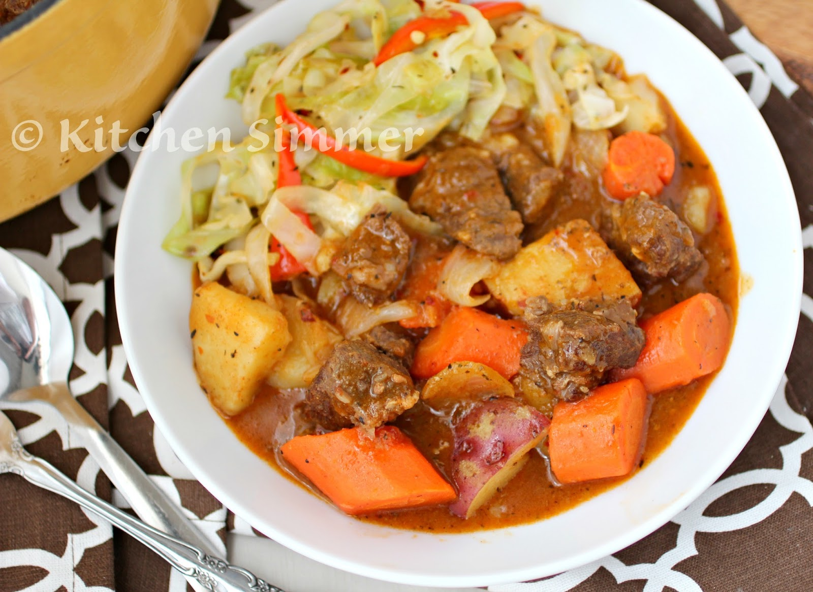 Kitchen Simmer: Beef and Bacon Stew with Sauteed Cabbage