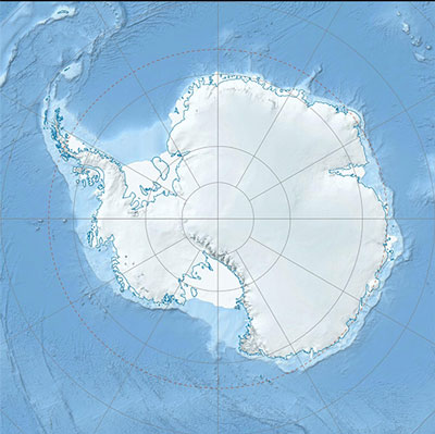 Antarctica with the South Pole in center (Source: Wikipedia)