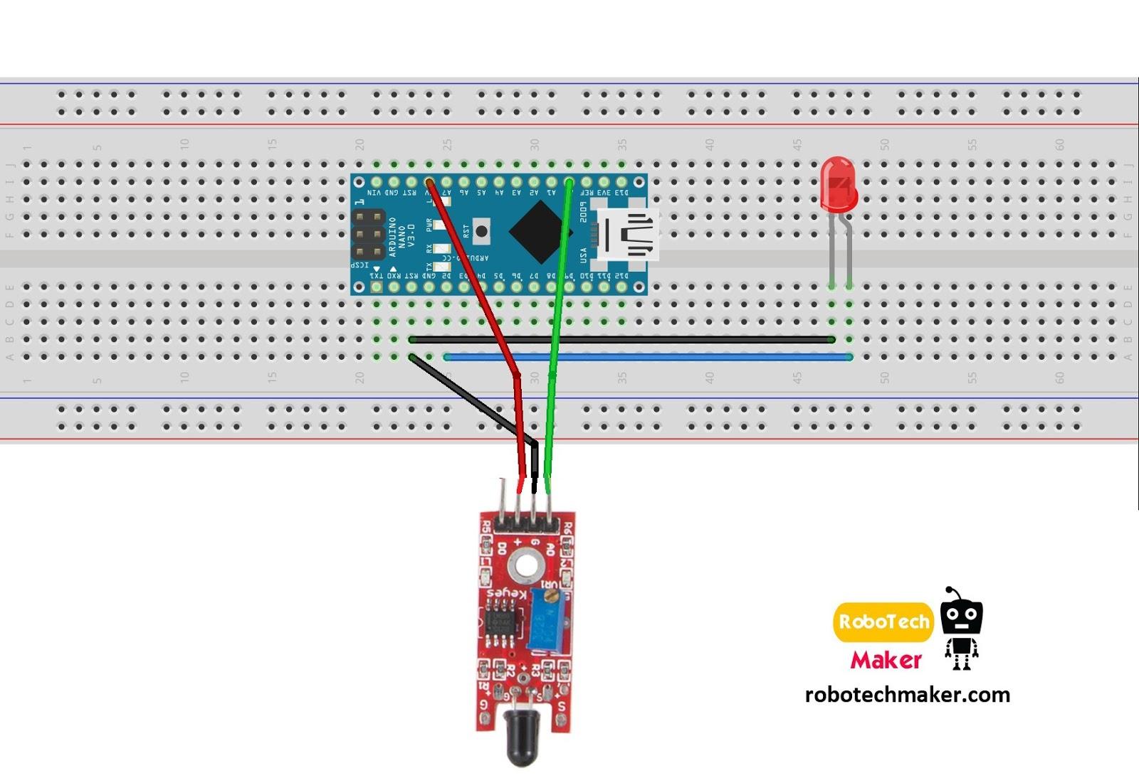 robotech maker how to use flame sensor simple tutorial rh robotechmaker com Garage Door Safety Sensor Diagram 5 Wire Oxygen Sensor Diagram