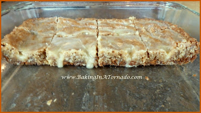 Orange Glazed Cinnamon Oatmeal Bars | www.BakingInATornado.com