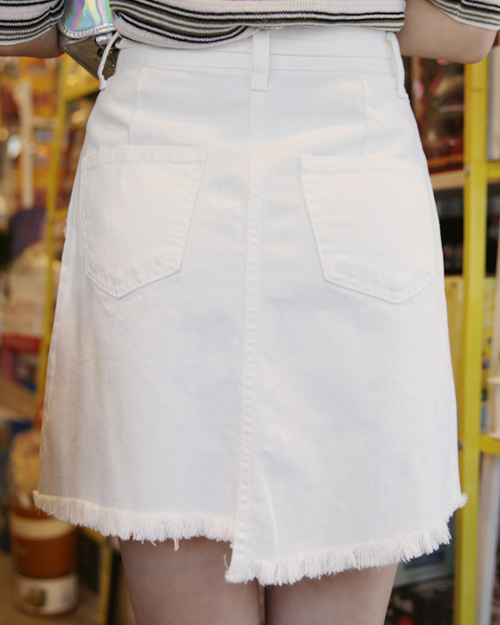 Fringed Self-Tie Belt Skirt