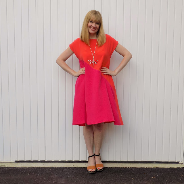 The Hope Clothing pop-on orange and fucshia dress