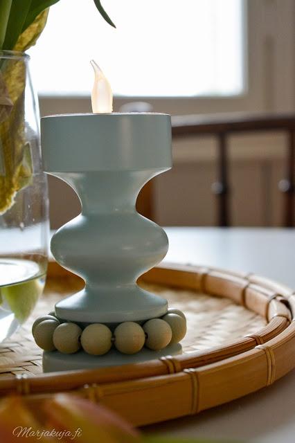 aarikka vaaleansininen prinssi kynttilänjalka kirppislöytö