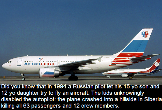 Did you know that in 1994 a russian pilot let his 15 yo son and 12 yo daughter try to fly an aircraft