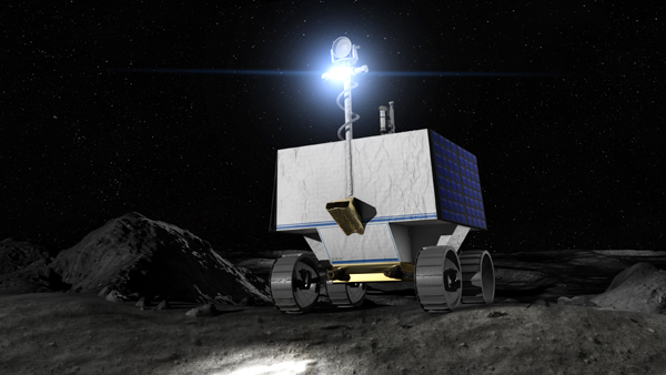 An artist's concept of NASA's VIPER rover on the surface of the Moon.