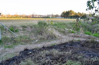 En la foto se observa el predio talado rellenado  y el lugar afectado por el fuego