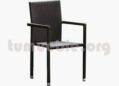 sillón para comedor hecho en aluminio y rattan sintético 6065