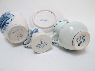 Delft Pottery Miniatures-4pc-bottom mark view