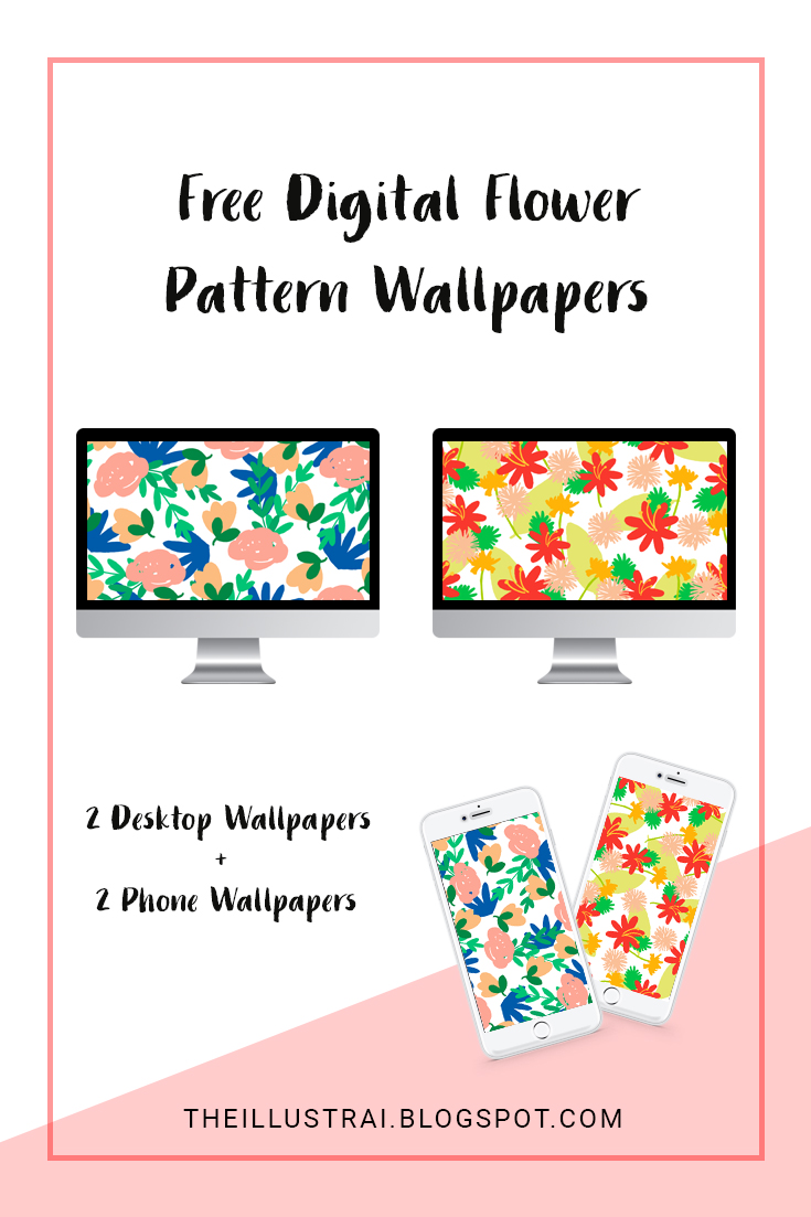 Download the two digital floral wallpapers for your phone and desktop