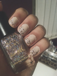 New Year's Eve Nails || Nude Sparkle