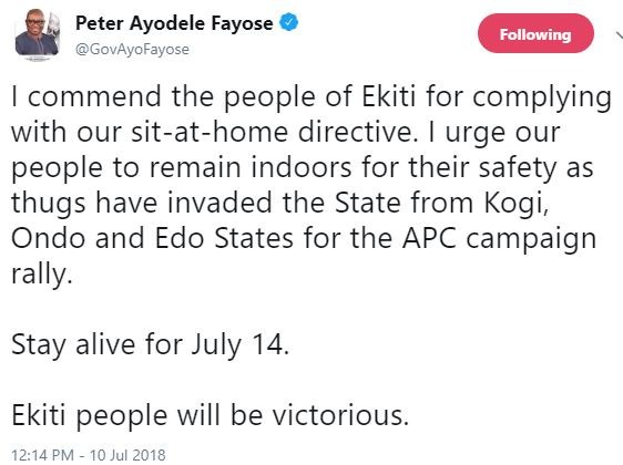 Fayose issues 'sit-at-home' order, says thugs have invaded the State from Kogi, Ondo and Edo States