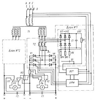 Принципиальная схема зарядного устройства типа ВАКЗ-2-40-2И
