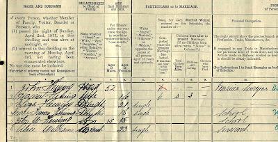 Harriett Fleming 1911 Census, Ninian Road, Cardiff