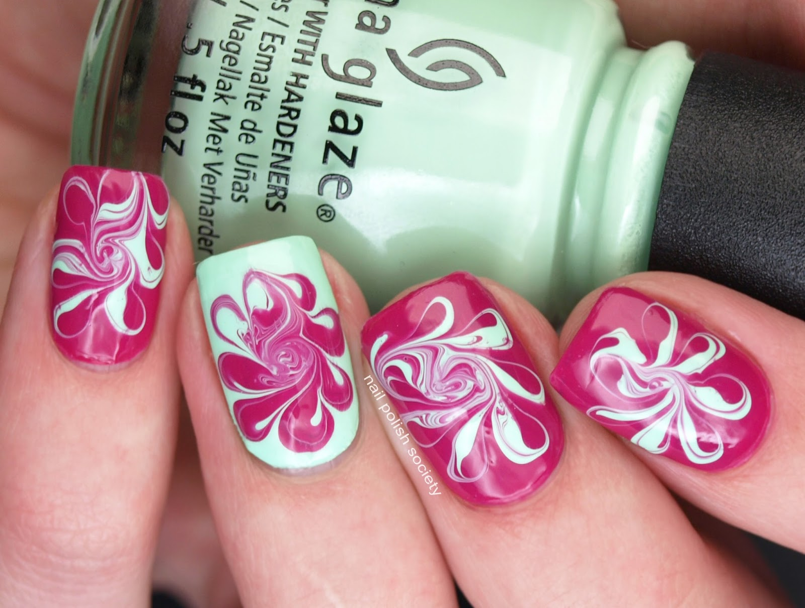 Nail Polish Society: Flower-ish Needle-Drag Marble