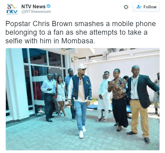 DeportChrisBrown trending after Chris Brown allegedly smashed fan's phone in Kenya