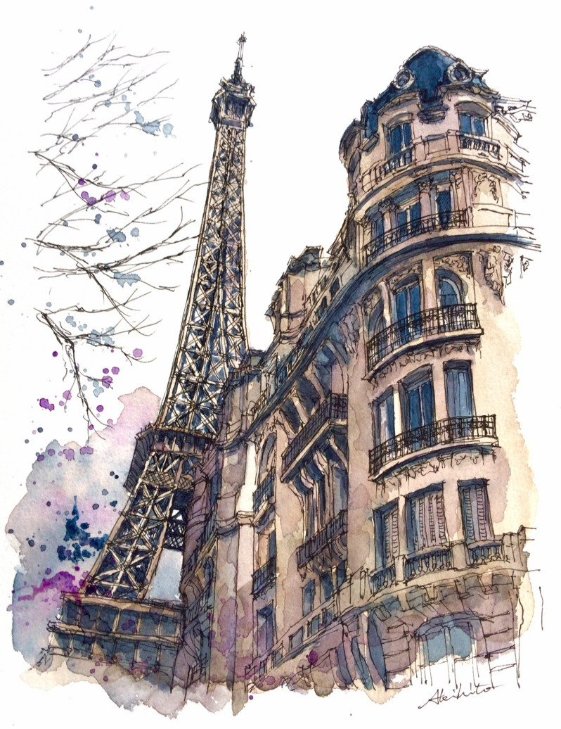 02-The-Eiffel-Tower-Paris-Akihito-Horigome-Travelling-Drawing-and-Painting-www-designstack-co
