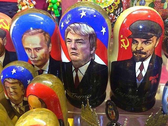 Putin,Trump e Lenine, nas matryoshkas de venda popular.