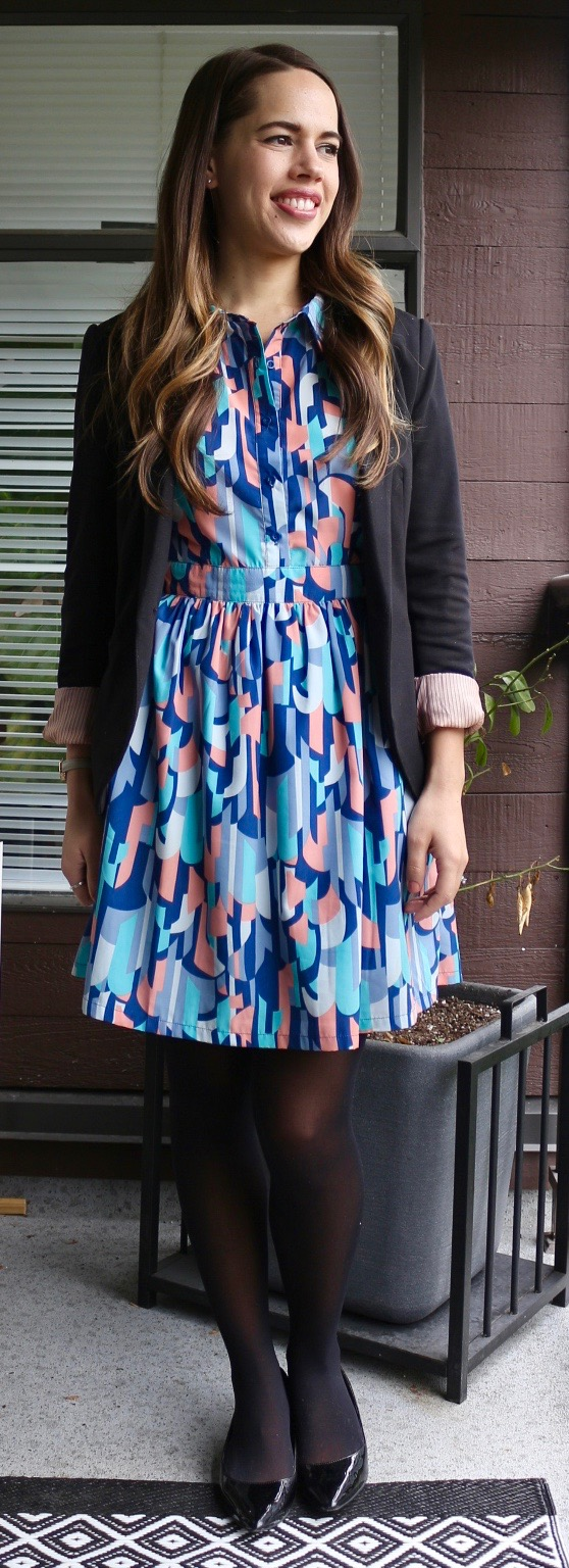 Jules in Flats - Abstract Print Collared Dress