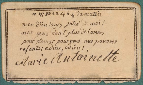 Marie Antoinette's Prayer Book inscription