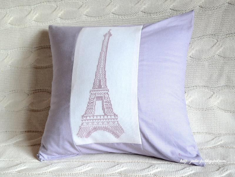 Эйфелева башня, Париж, подушка, вышивка крестом, Tour Eiffel, Paris