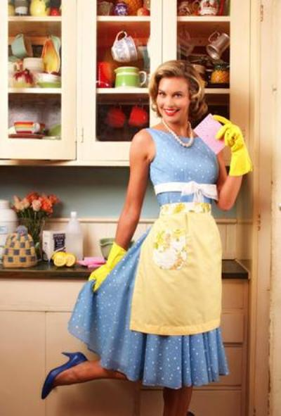 smiling 1950s style housewife