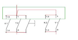 Rangkaian Kontrol motor listrik 3 fasa hidup mati bergantian secara otomatis TDR kontaktor