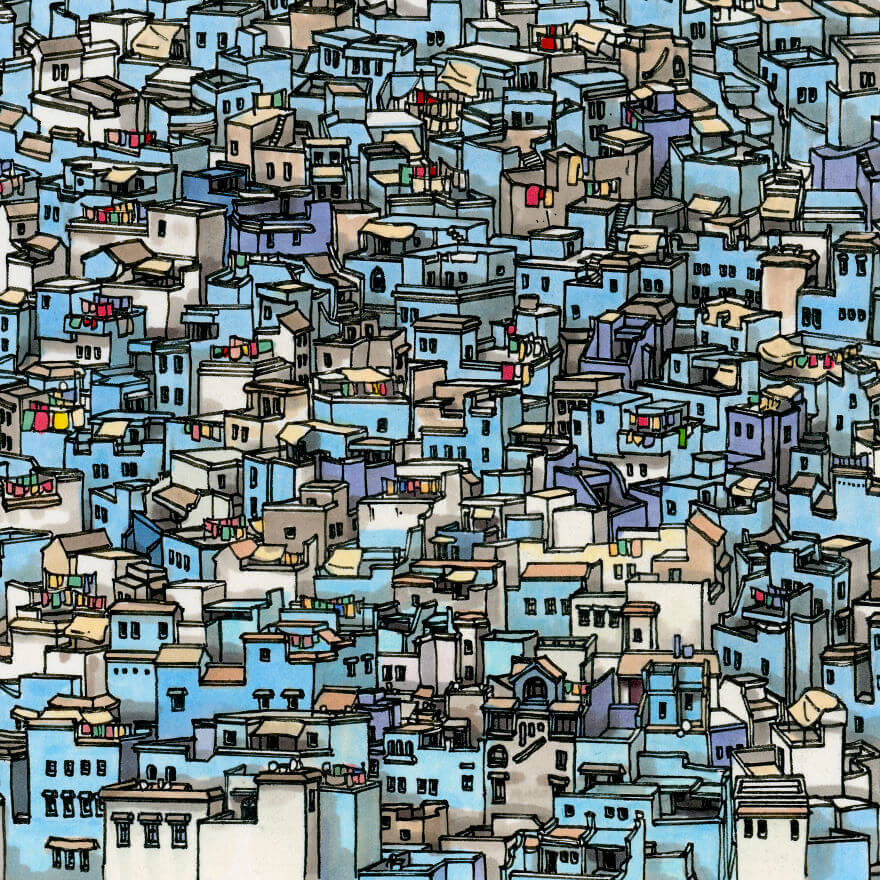 13 Artistic Illustrations Of Famous Places Around The World - Chefchaouen, Morocco