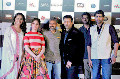 Anushka Shetty, Tamannaah Bhatia, Rajamouli, Karan Johar, Prabhas, Rana Daggubati at the trailer launch of the Hindi version of Baahubali 2